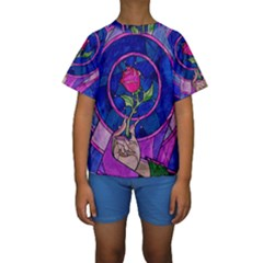 Enchanted Rose Stained Glass Kids  Short Sleeve Swimwear