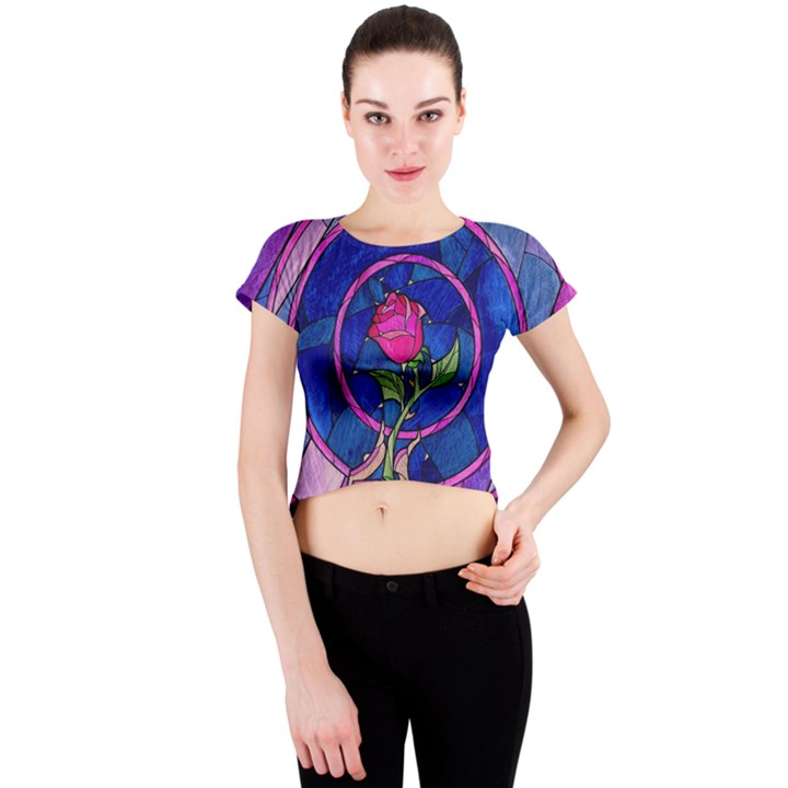 Enchanted Rose Stained Glass Crew Neck Crop Top