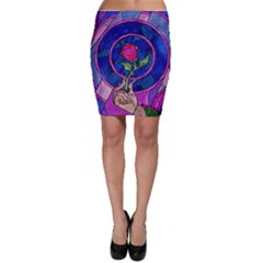 Enchanted Rose Stained Glass Bodycon Skirt