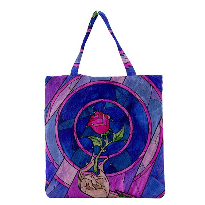 Enchanted Rose Stained Glass Grocery Tote Bag