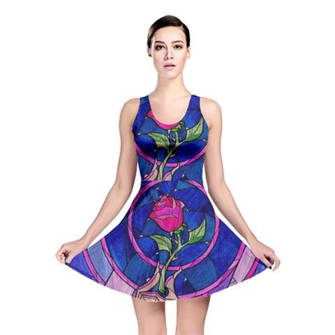 Enchanted Rose Stained Glass Reversible Skater Dress