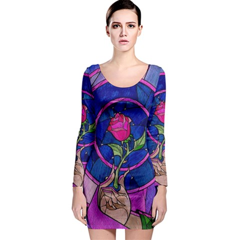 Enchanted Rose Stained Glass Long Sleeve Bodycon Dress