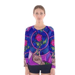 Enchanted Rose Stained Glass Women s Long Sleeve Tee