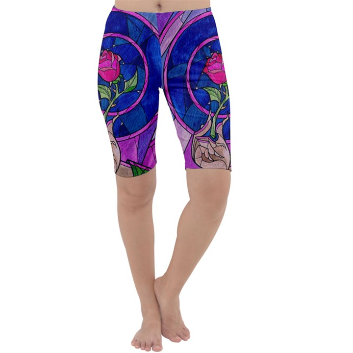 Enchanted Rose Stained Glass Cropped Leggings