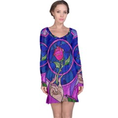 Enchanted Rose Stained Glass Long Sleeve Nightdress