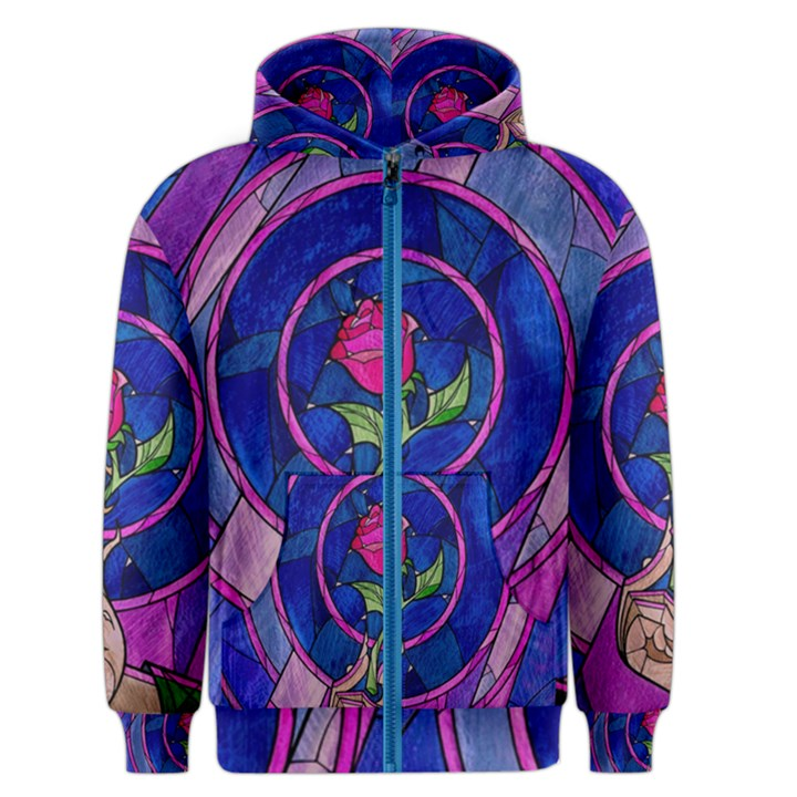 Enchanted Rose Stained Glass Men s Zipper Hoodie