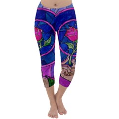 Enchanted Rose Stained Glass Capri Winter Leggings