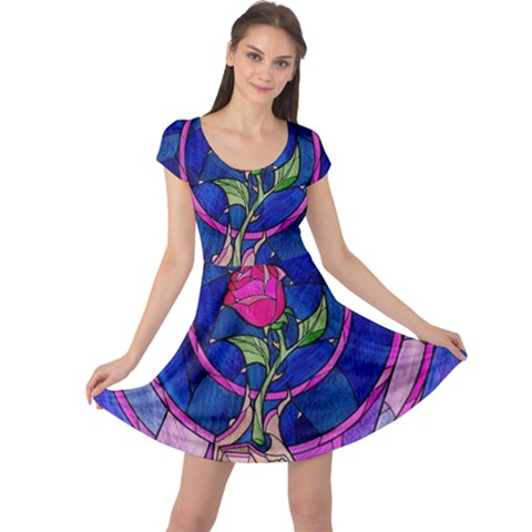 Enchanted Rose Stained Glass Cap Sleeve Dresses