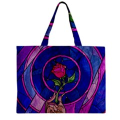 Enchanted Rose Stained Glass Zipper Mini Tote Bag