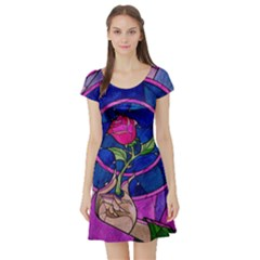 Enchanted Rose Stained Glass Short Sleeve Skater Dress
