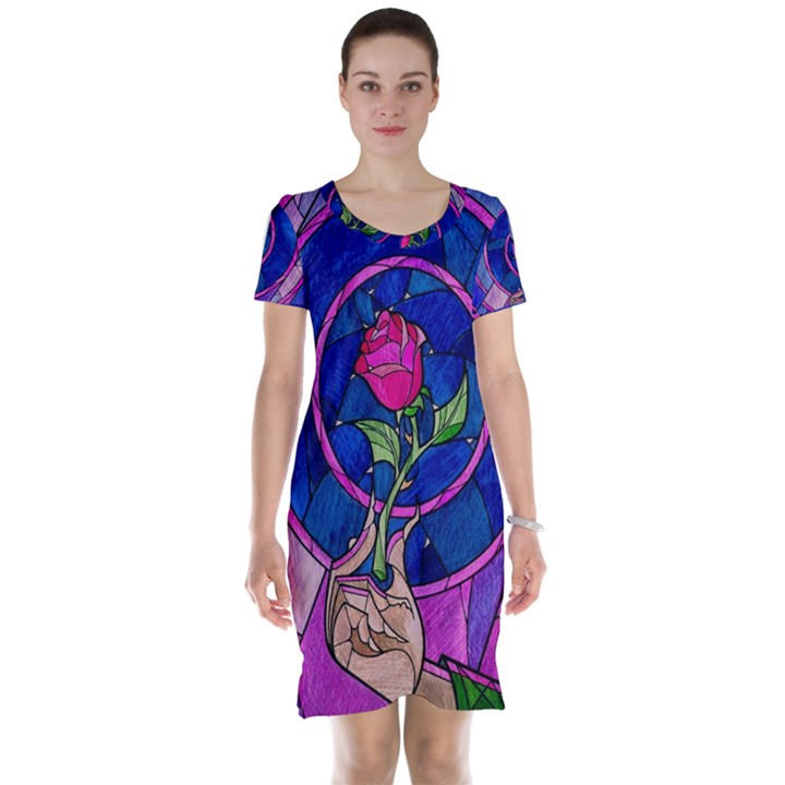 Enchanted Rose Stained Glass Short Sleeve Nightdress