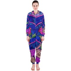 Enchanted Rose Stained Glass Hooded Jumpsuit (ladies)