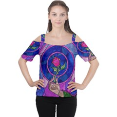 Enchanted Rose Stained Glass Women s Cutout Shoulder Tee