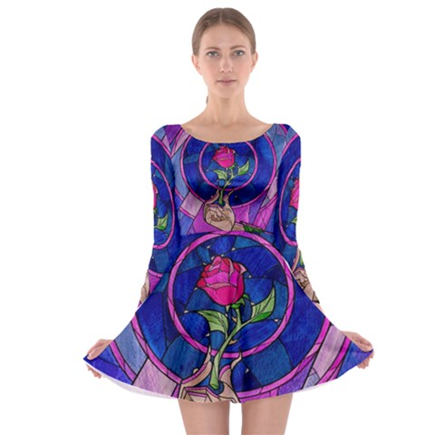 Enchanted Rose Stained Glass Long Sleeve Skater Dress