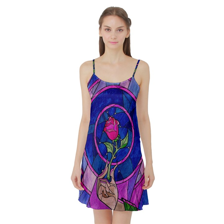 Enchanted Rose Stained Glass Satin Night Slip