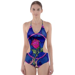 Enchanted Rose Stained Glass Cut-Out One Piece Swimsuit