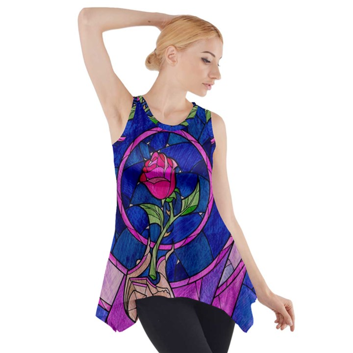 Enchanted Rose Stained Glass Side Drop Tank Tunic