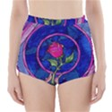 Enchanted Rose Stained Glass High-Waisted Bikini Bottoms View1