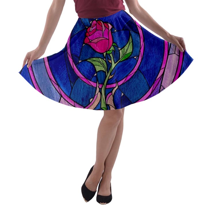 Enchanted Rose Stained Glass A-line Skater Skirt