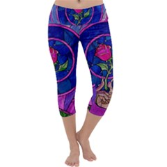 Enchanted Rose Stained Glass Capri Yoga Leggings
