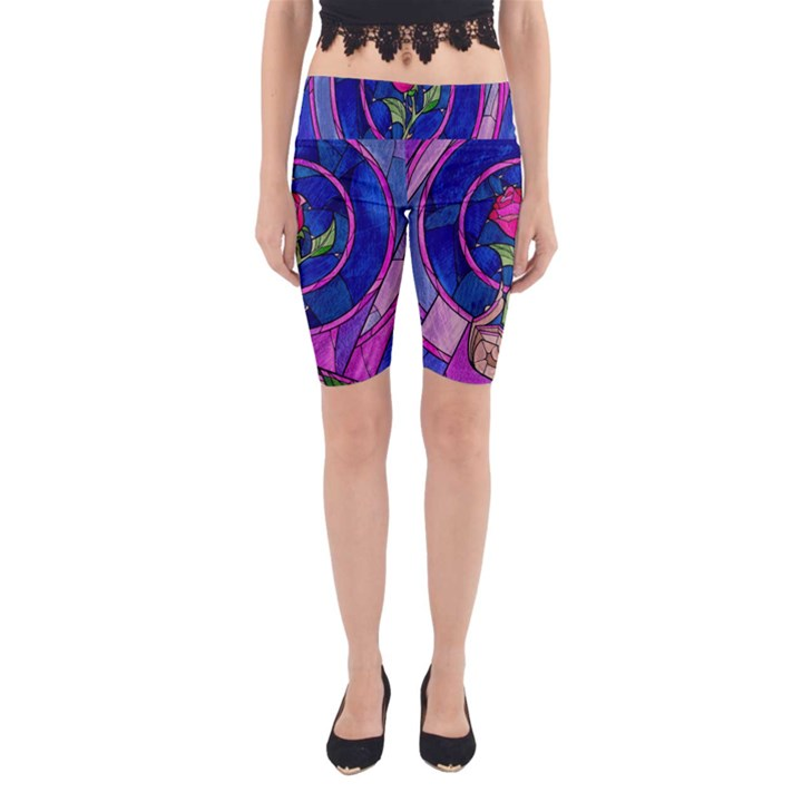 Enchanted Rose Stained Glass Yoga Cropped Leggings