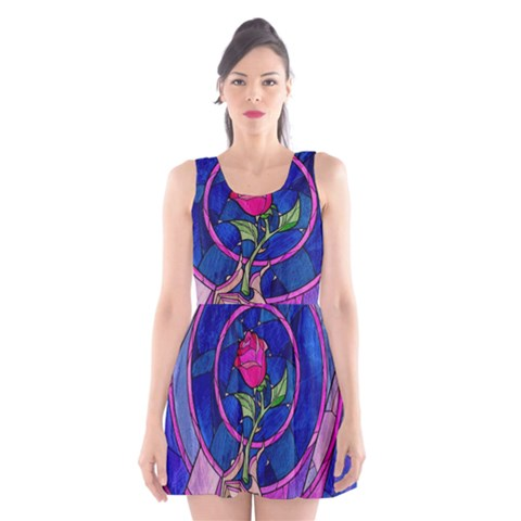Enchanted Rose Stained Glass Scoop Neck Skater Dress