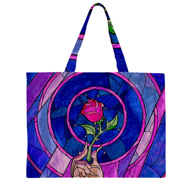 Enchanted Rose Stained Glass Large Tote Bag