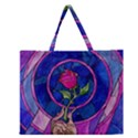 Enchanted Rose Stained Glass Zipper Large Tote Bag View1