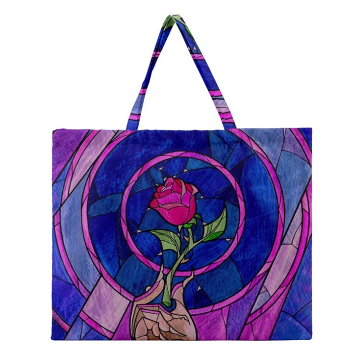 Enchanted Rose Stained Glass Zipper Large Tote Bag