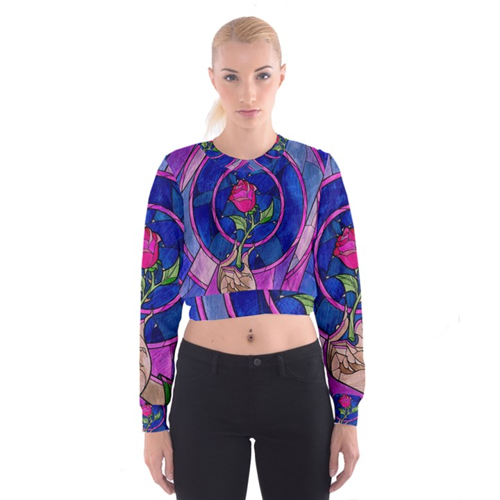 Enchanted Rose Stained Glass Women s Cropped Sweatshirt