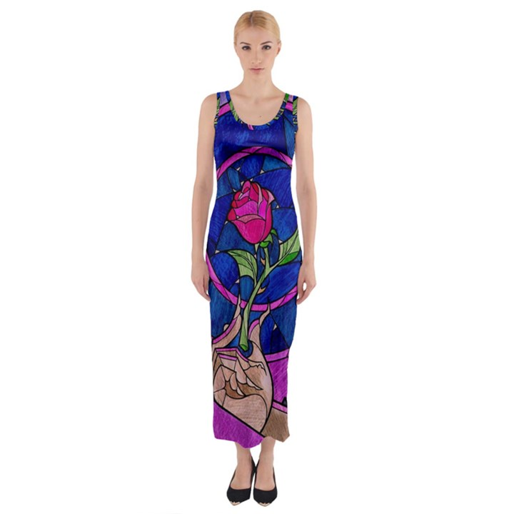 Enchanted Rose Stained Glass Fitted Maxi Dress