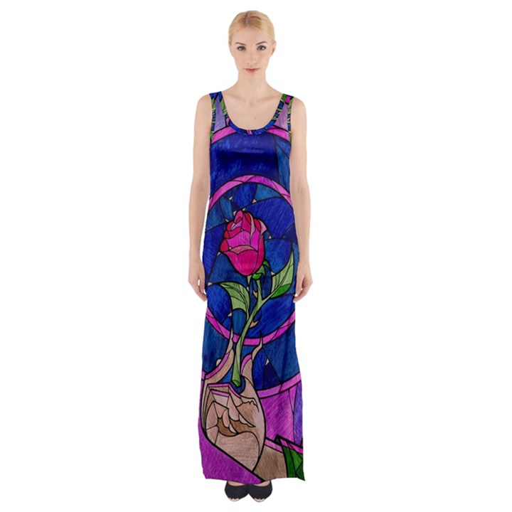 Enchanted Rose Stained Glass Maxi Thigh Split Dress