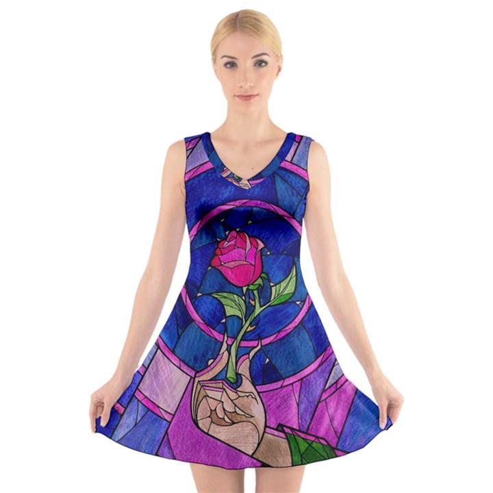 Enchanted Rose Stained Glass V-Neck Sleeveless Skater Dress