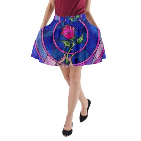 Enchanted Rose Stained Glass A-Line Pocket Skirt
