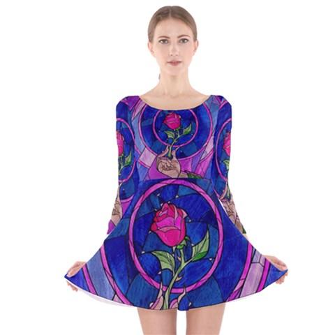 Enchanted Rose Stained Glass Long Sleeve Velvet Skater Dress