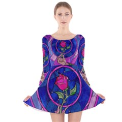 Enchanted Rose Stained Glass Long Sleeve Velvet Skater Dress