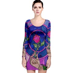 Enchanted Rose Stained Glass Long Sleeve Velvet Bodycon Dress