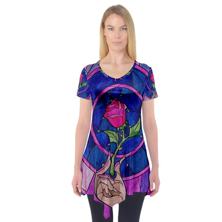 Enchanted Rose Stained Glass Short Sleeve Tunic