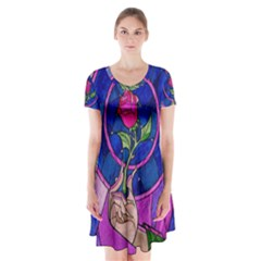 Enchanted Rose Stained Glass Short Sleeve V Neck Flare Dress