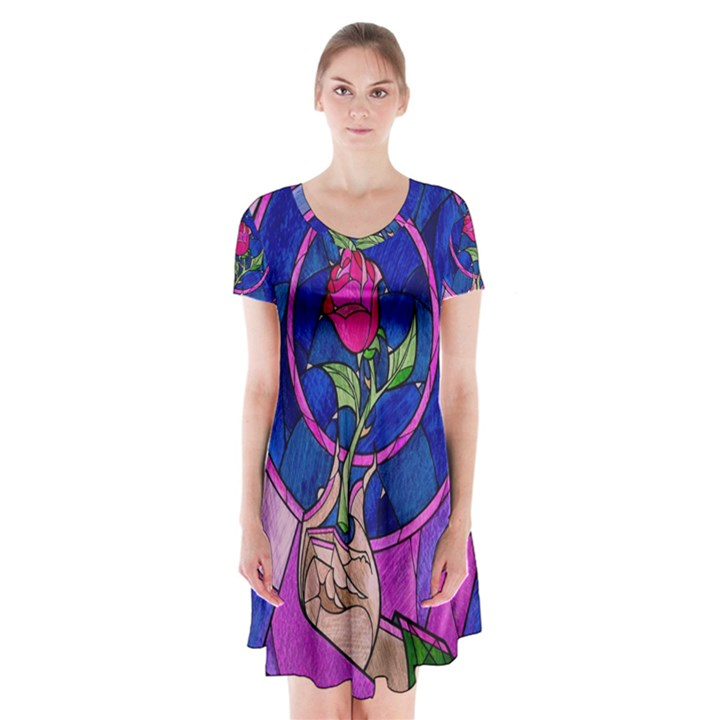 Enchanted Rose Stained Glass Short Sleeve V-neck Flare Dress