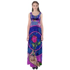 Enchanted Rose Stained Glass Empire Waist Maxi Dress