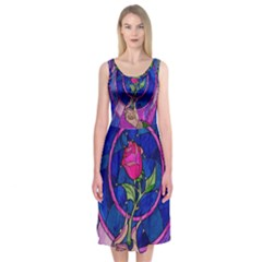 Enchanted Rose Stained Glass Midi Sleeveless Dress