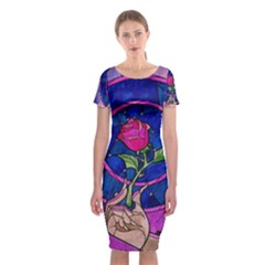 Enchanted Rose Stained Glass Classic Short Sleeve Midi Dress