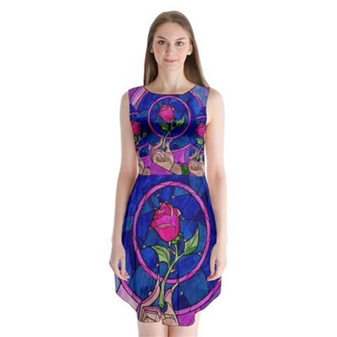 Enchanted Rose Stained Glass Sleeveless Chiffon Dress