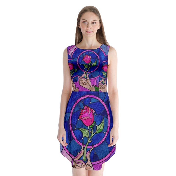Enchanted Rose Stained Glass Sleeveless Chiffon Dress