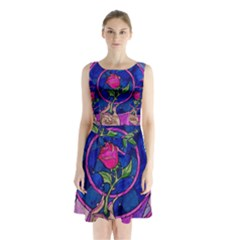 Enchanted Rose Stained Glass Sleeveless Chiffon Waist Tie Dress