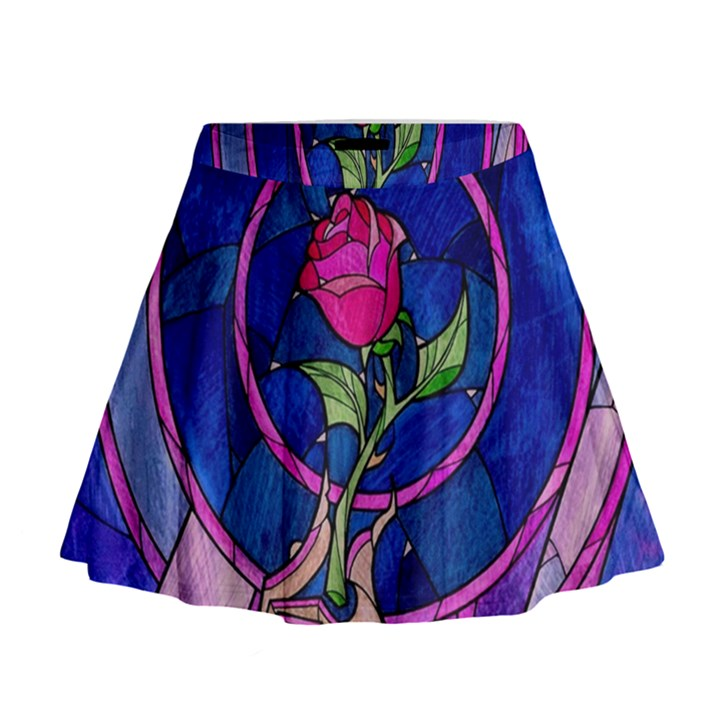 Enchanted Rose Stained Glass Mini Flare Skirt