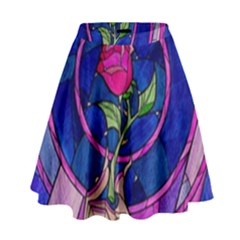 Enchanted Rose Stained Glass High Waist Skirt