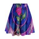 Enchanted Rose Stained Glass High Waist Skirt View1