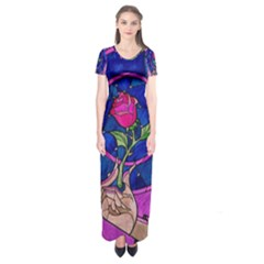 Enchanted Rose Stained Glass Short Sleeve Maxi Dress